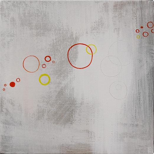 "Asteroids 2, acrylic on canvas, 12"" x 12"""