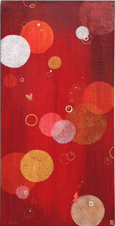 """Ruby Column, acrylic on canvas, 10"""" x 20"""""""