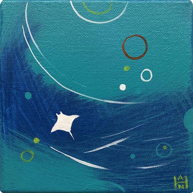"Manta Bubbles, acrylic on canvas, 6"" x 6"""