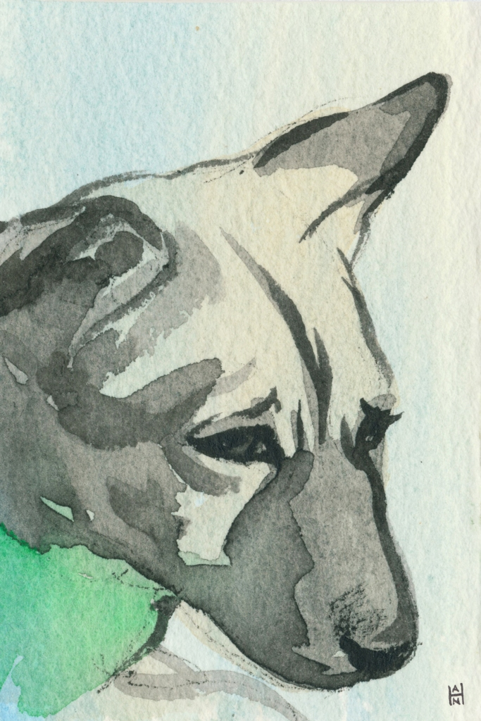 """Rescued-01, 2"""" x 3"""", Watercolor on paper"""