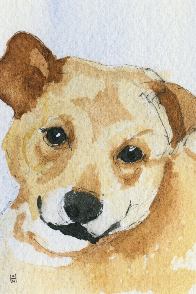 """Rescued-05, 2"""" x 3"""", Watercolor on paper"""