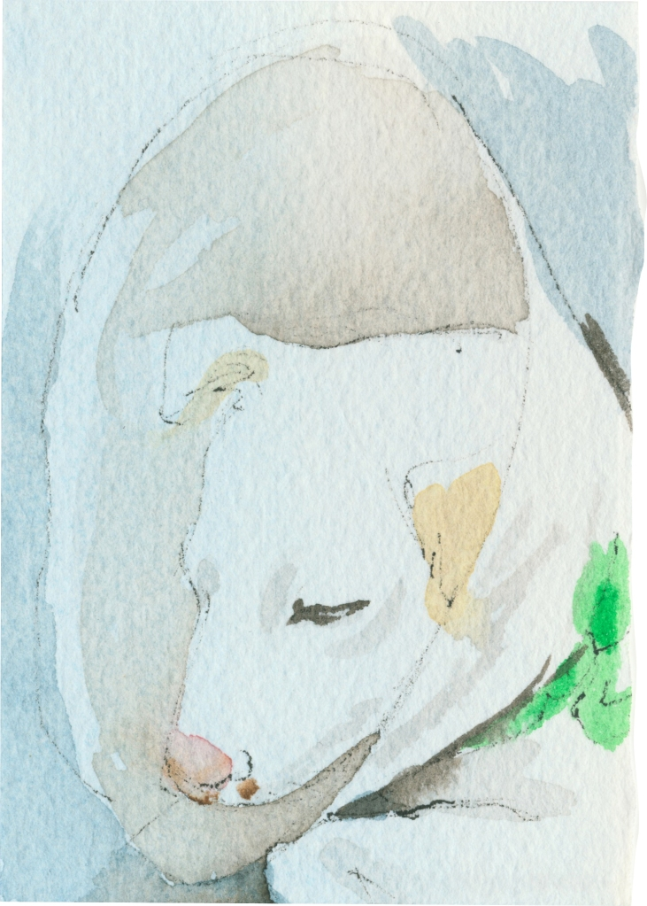 "Rescued-07, 2"" x 3"", Watercolor on paper"
