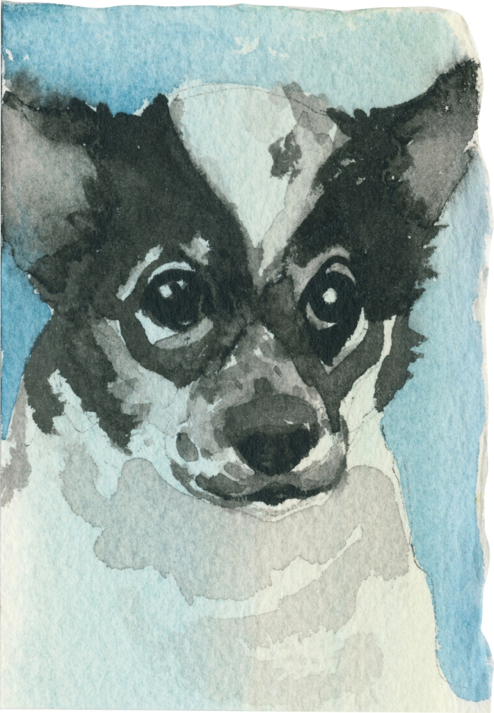 "Rescued-08, 2"" x 3"", Watercolor on paper"