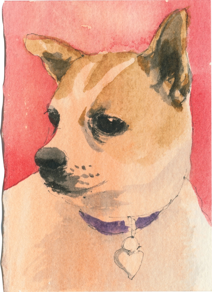 """Rescued-13, 2"""" x 3"""", Watercolor on paper"""