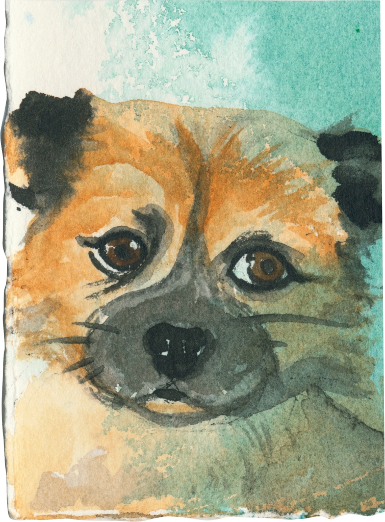 """Rescued-14, 2"""" x 3"""", Watercolor on paper"""
