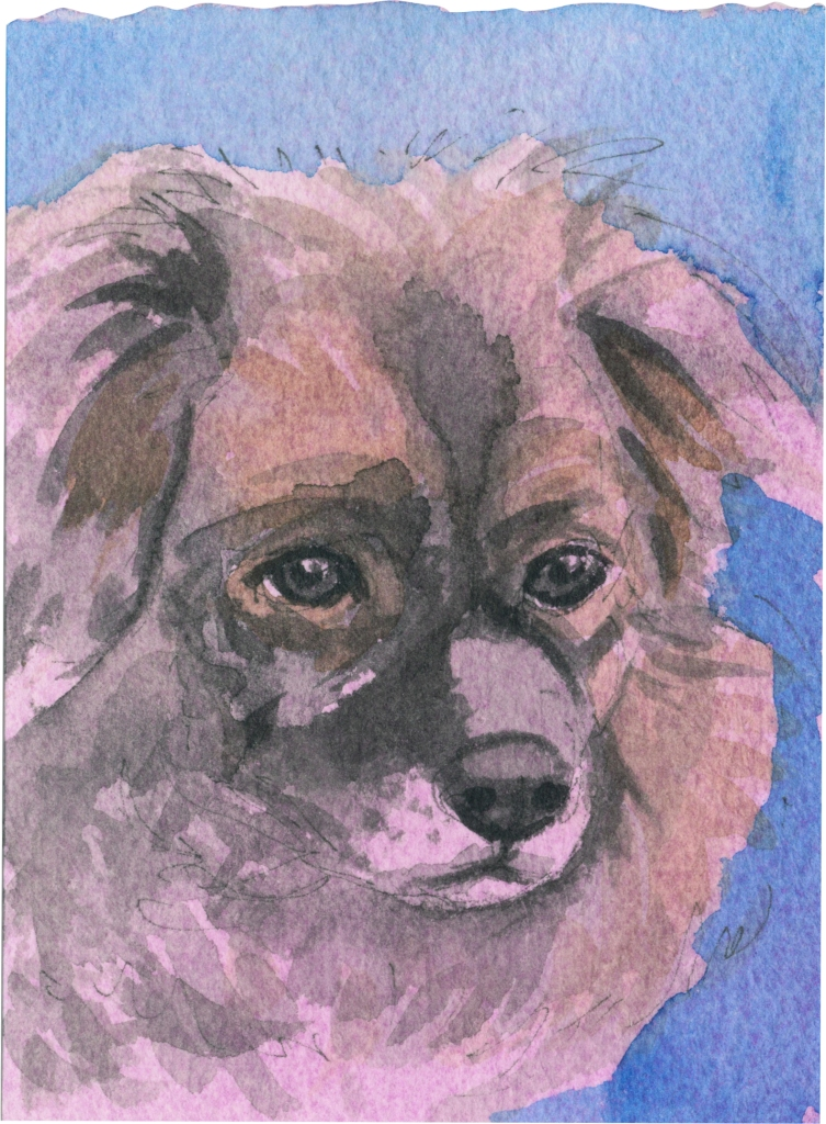 """Rescued-22, 2"""" x 3"""", Watercolor on paper"""