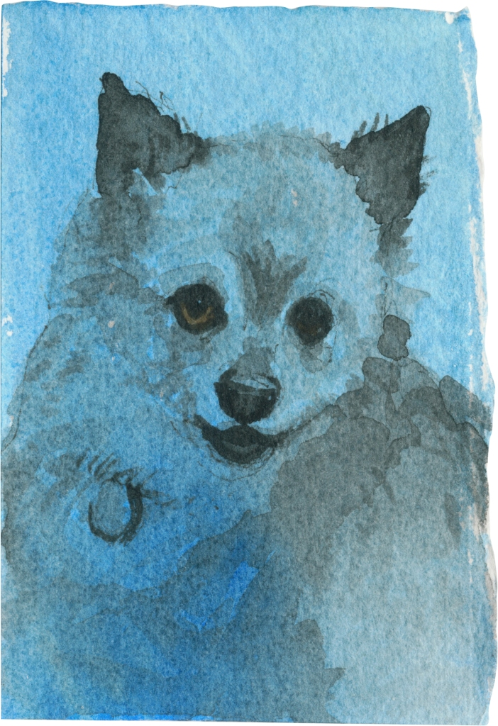 """Rescued-23, 2"""" x 3"""", Watercolor on paper"""