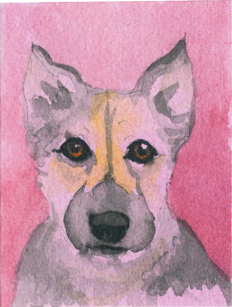 """Rescued-25, 2"""" x 3"""", Watercolor on paper"""