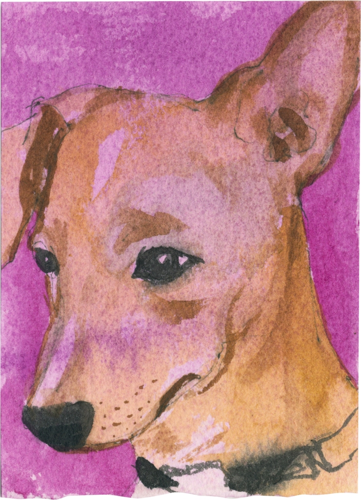 """Rescued-33, 2"""" x 3"""", Watercolor on paper"""