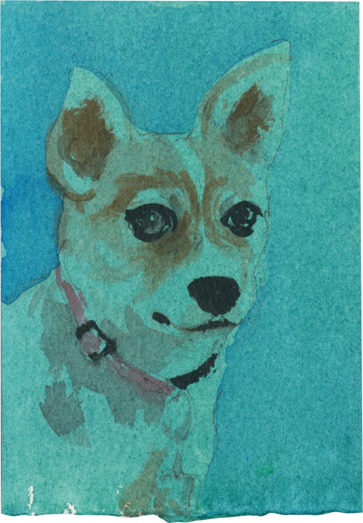 """Rescued-35, 2"""" x 3"""", Watercolor on paper"""