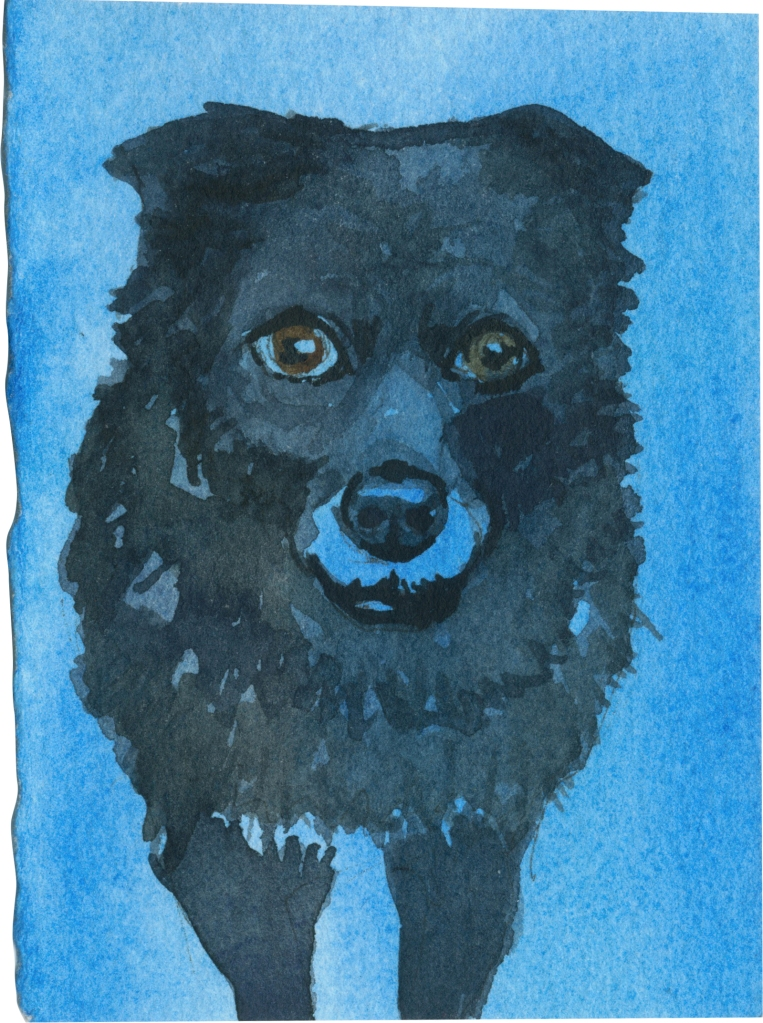 """Rescued-57, 2"""" x 3"""", Watercolor on paper"""