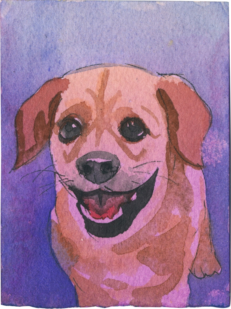 """Rescued-60, 2"""" x 3"""", Watercolor on paper"""