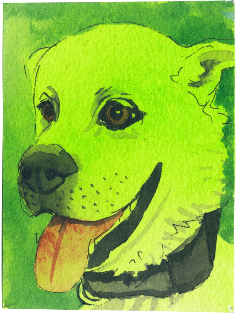 """Rescued-61, 2"""" x 3"""", Watercolor on paper"""