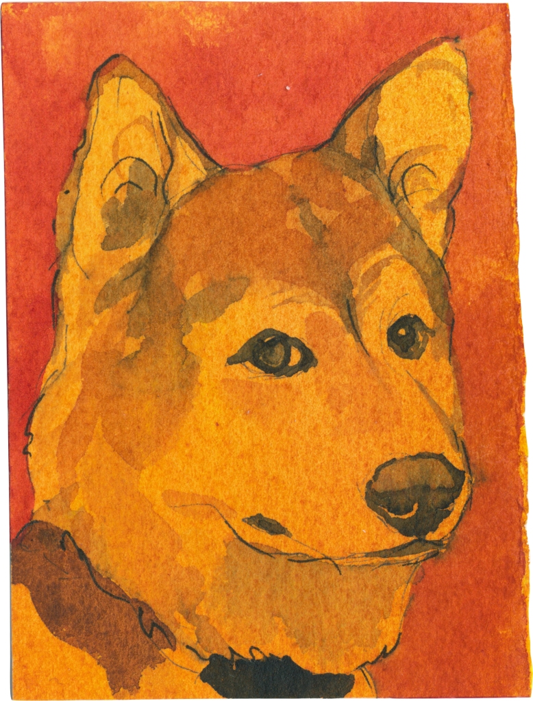 """Rescued-62, 2"""" x 3"""", Watercolor on paper"""