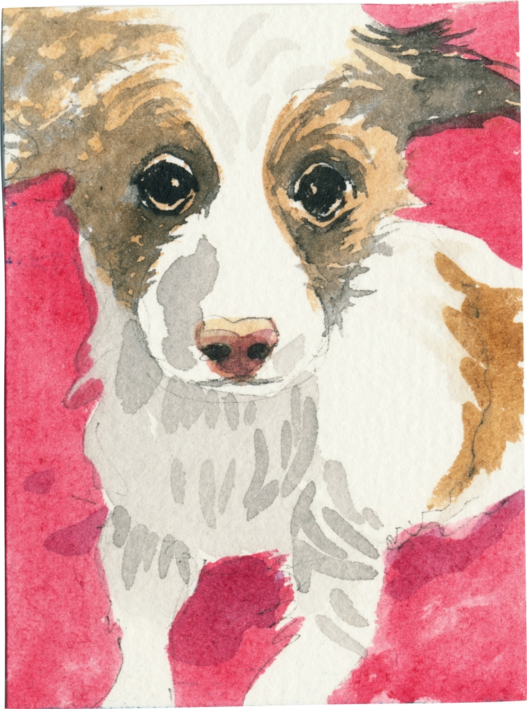 """Rescued-79, 2"""" x 3"""", Watercolor on paper"""