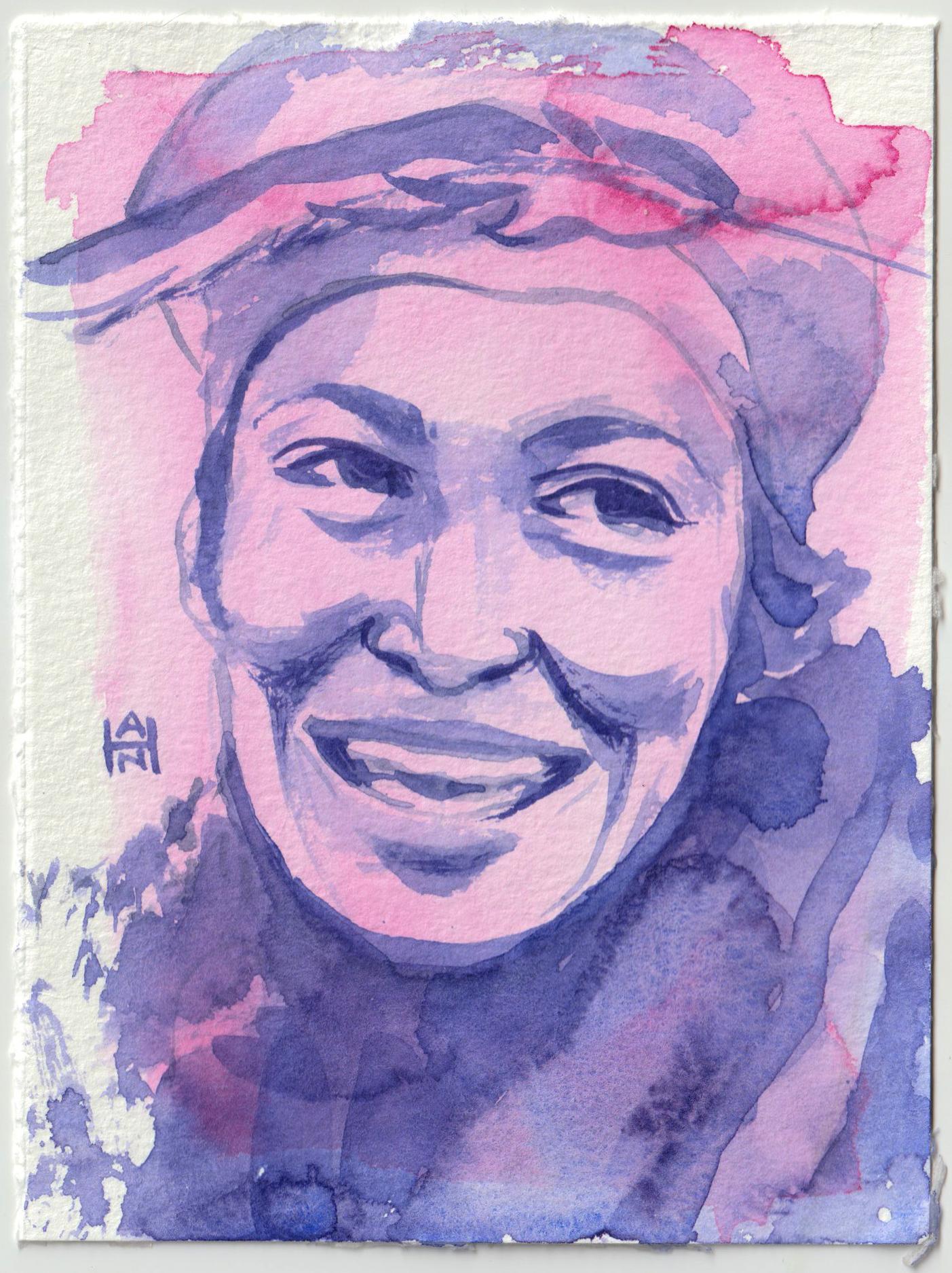 """Hurston"", watercolor on paper, 4.5"" x 6"""