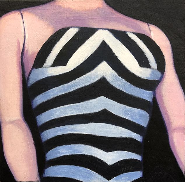 Barbie Torso, 6 x 6, acrylic on wood panel
