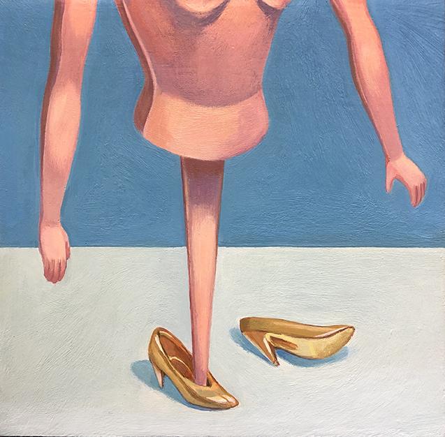 Gold Heels, 6 x 6, acrylic on wood panel