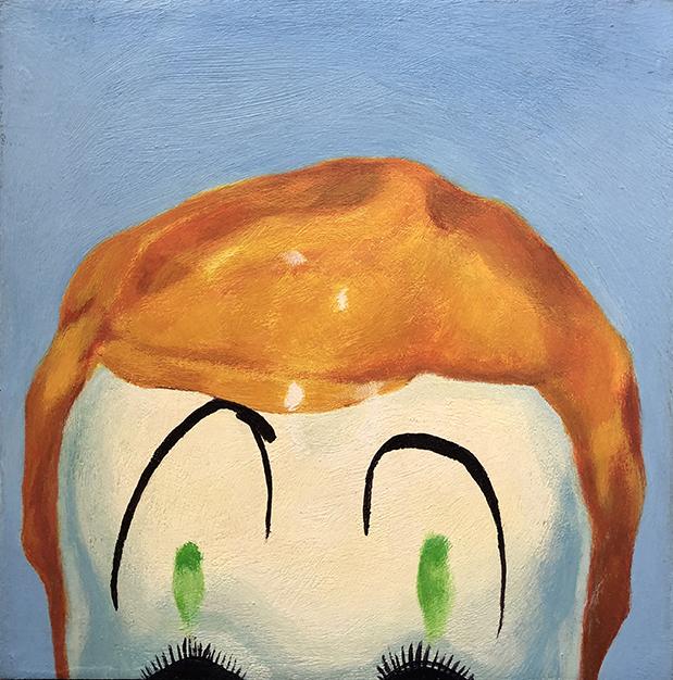Klown, 6 x 6, acrylic on wood panel