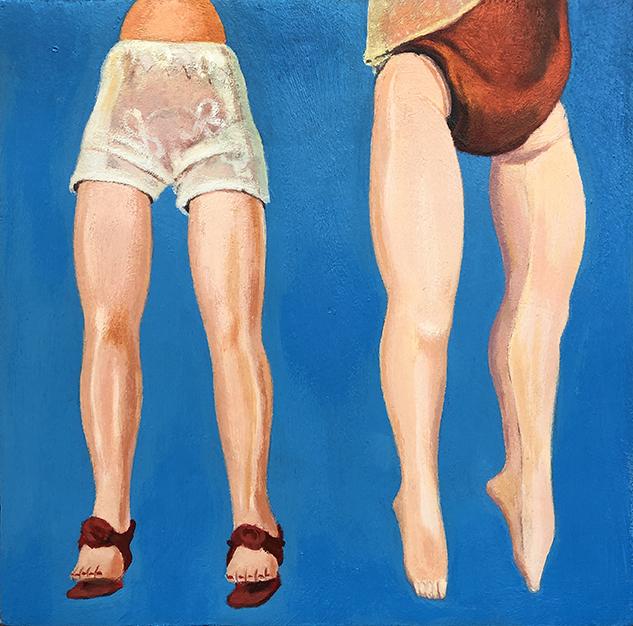 Sisters, 6 x 6, acrylic on wood panel