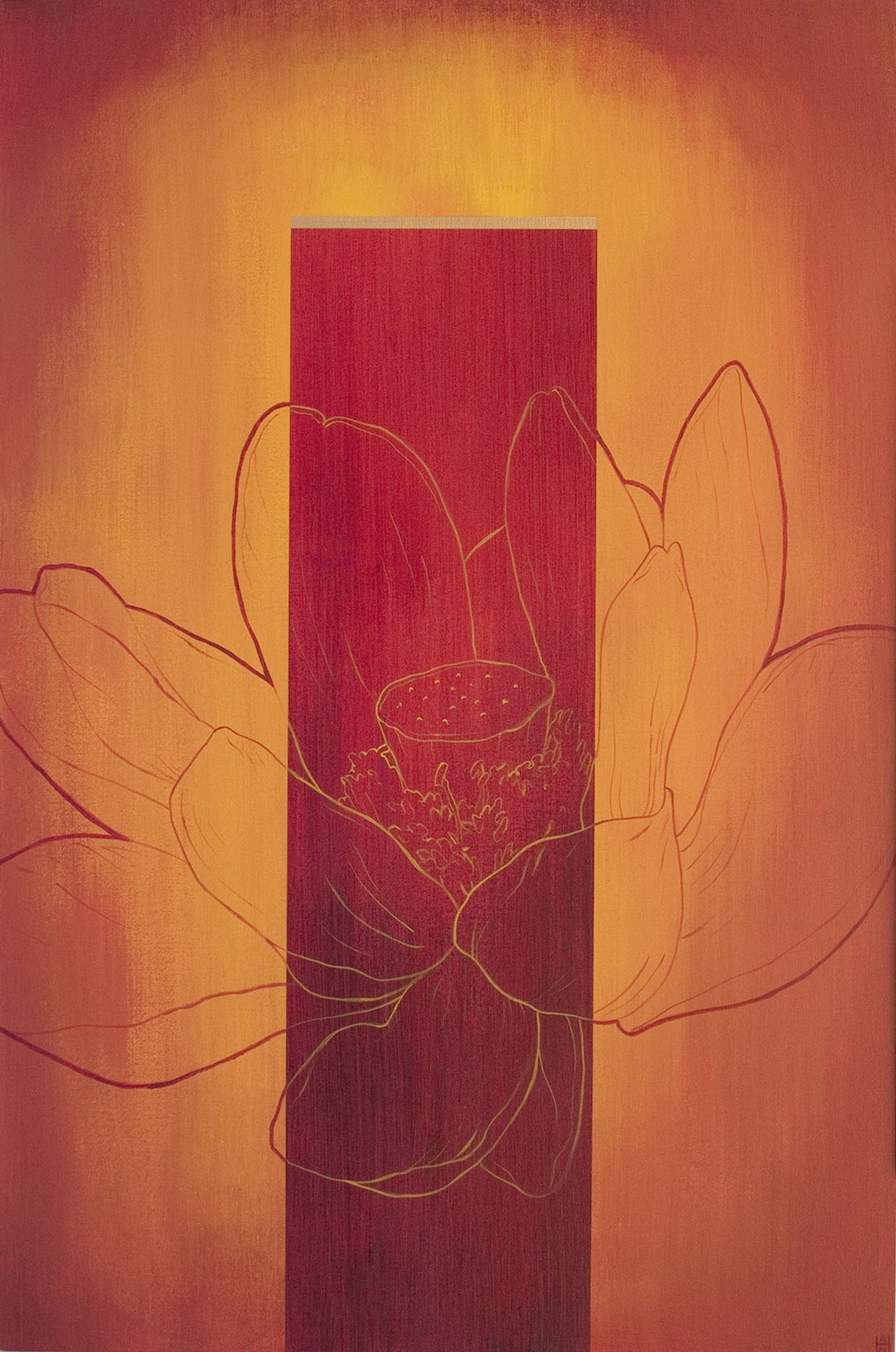"Koan 1, acrylic on canvas, 24"" x 36"", $800"