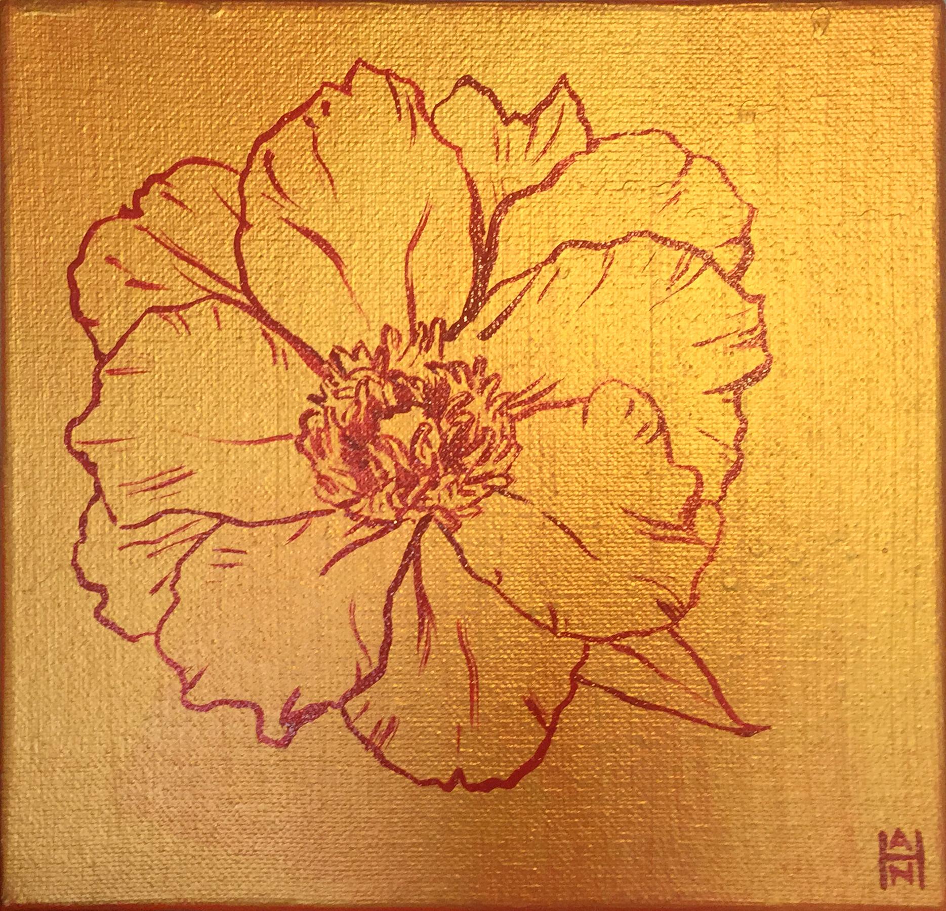 "Golden Hibiscus 1, acrylic on canvas, 8"" x 8"", $125"