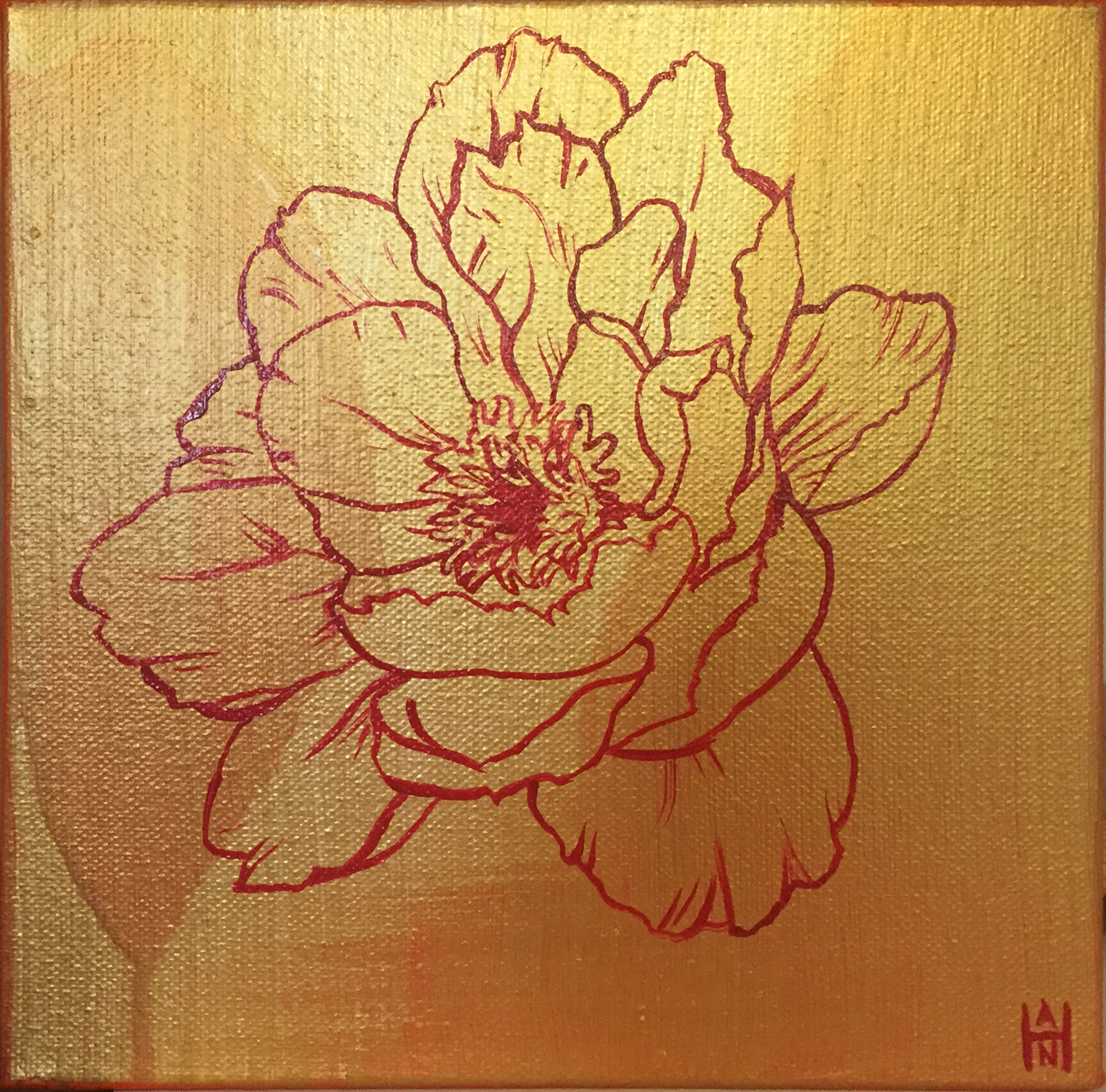 "Golden Hibiscus 2, acrylic on canvas, 8"" x 8"", $125"