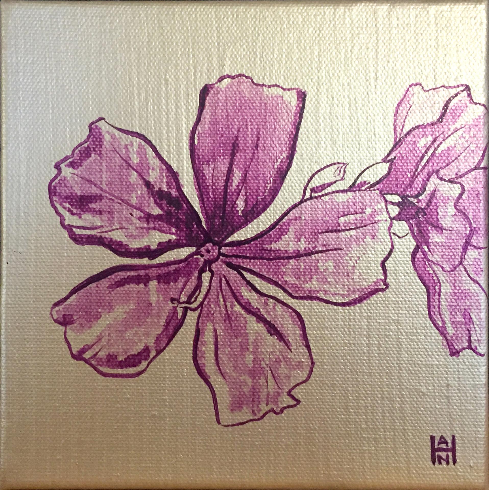 "Purple Passion 1, acrylic on canvas, 6"" x 6"", $75"