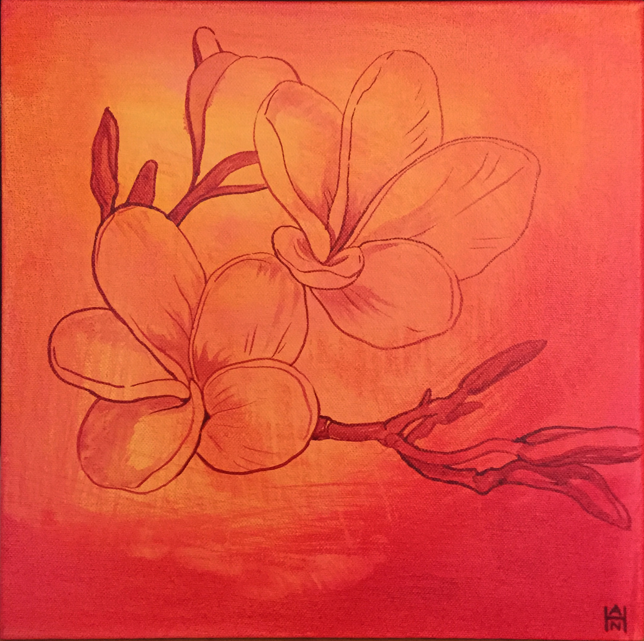 """Tropical Heat Plumeria, Acrylic on canvas, 12"""" x 12"""", $300"""