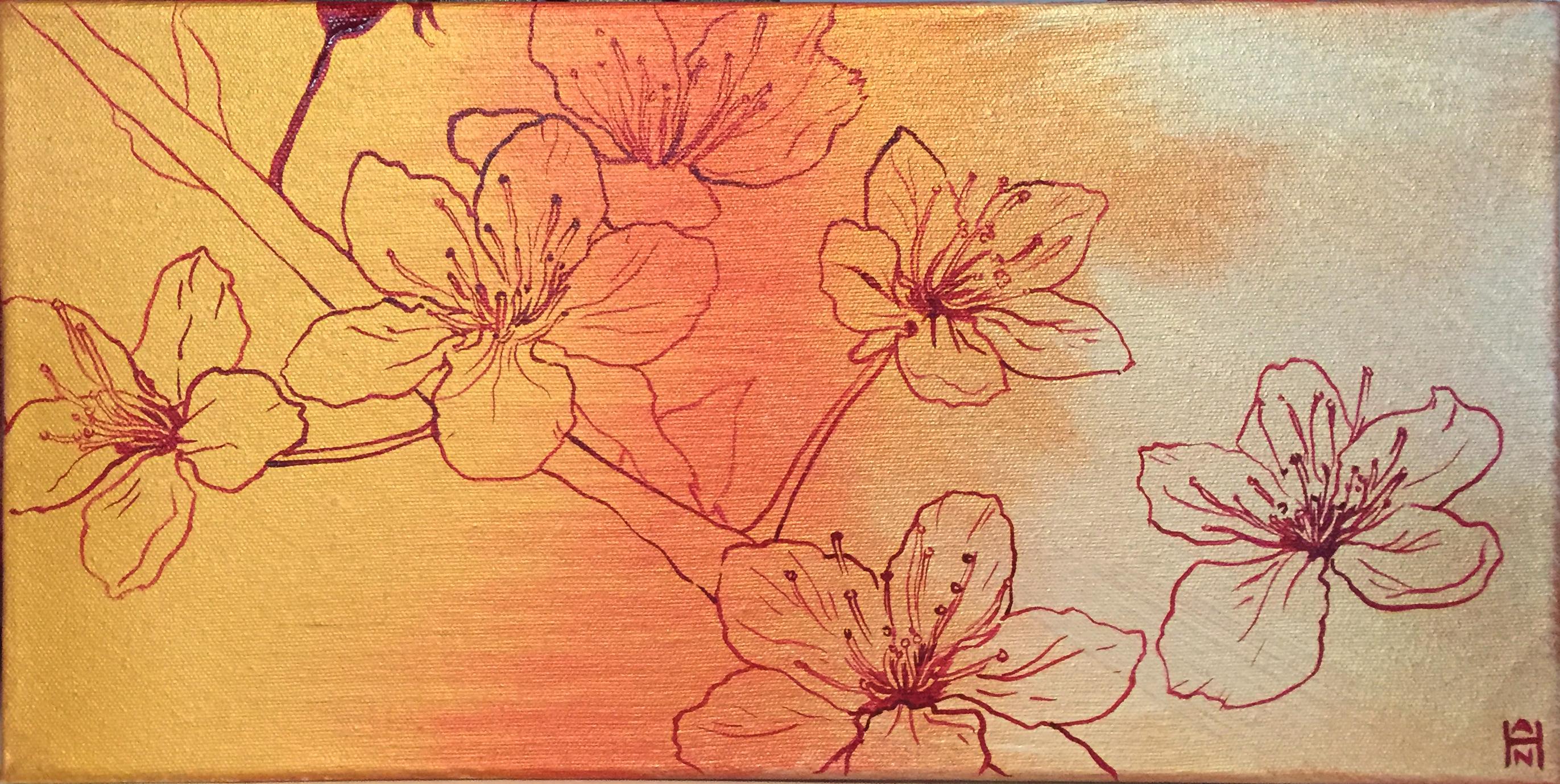 """Golden Sakura 2, Acrylic on canvas, 8"""" x 16"""", $375"""