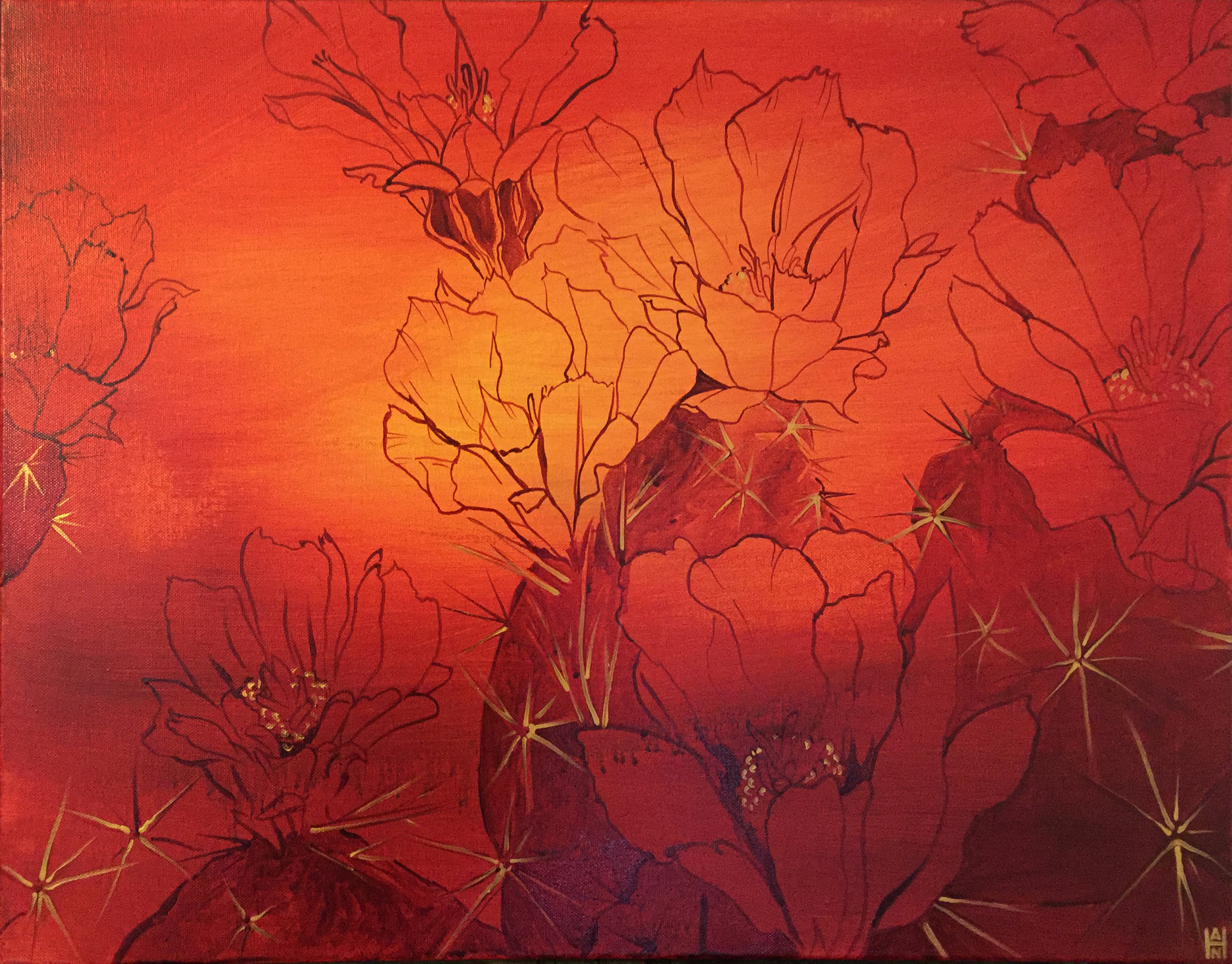 """Desert Blooms Scarlet Gold, Acrylic on canvas, 18"""" x 24"""", $500"""