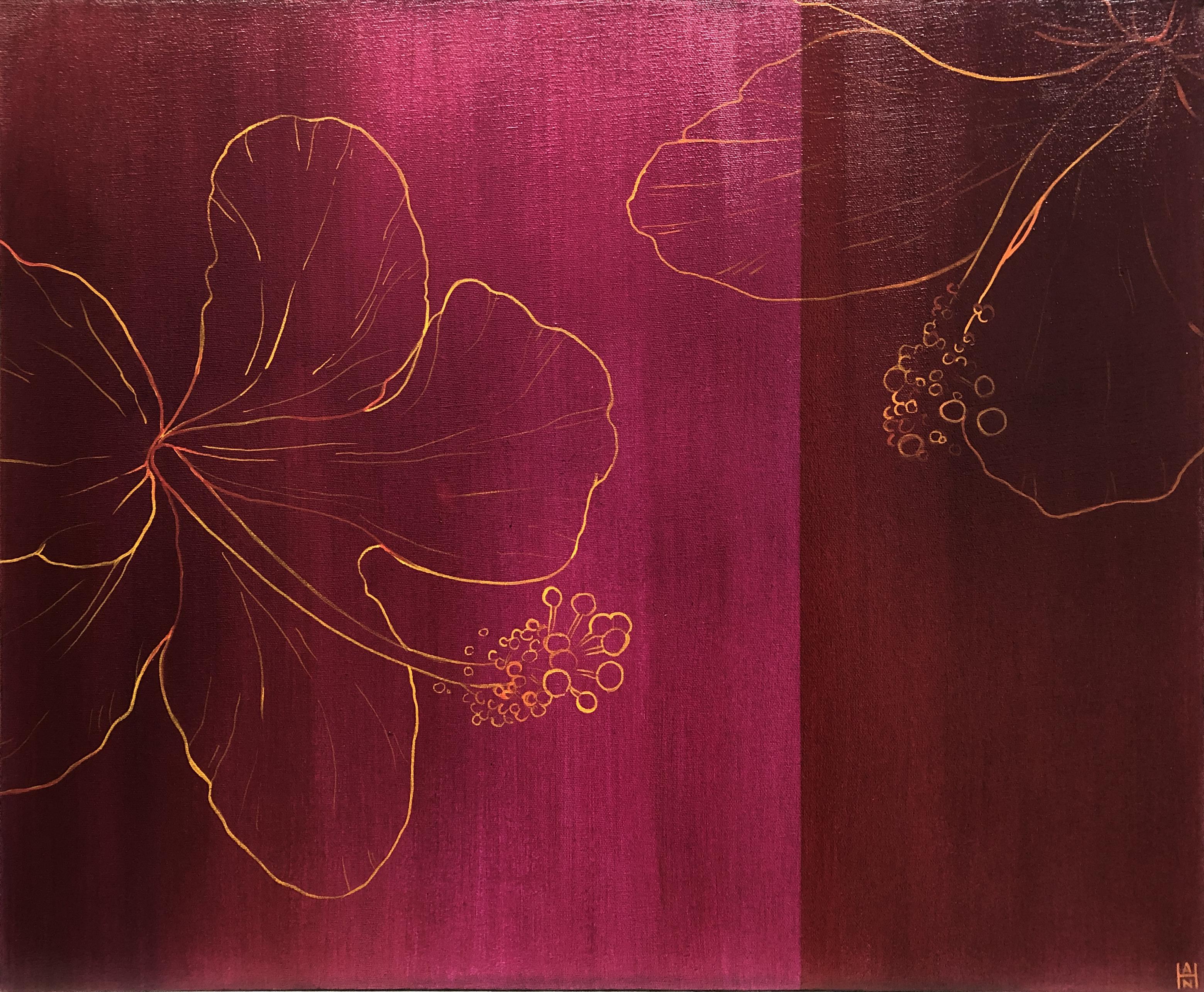 """Magenta Hibiscus 1, acrylic on canvas, 20"""" x 24"""", $350"""