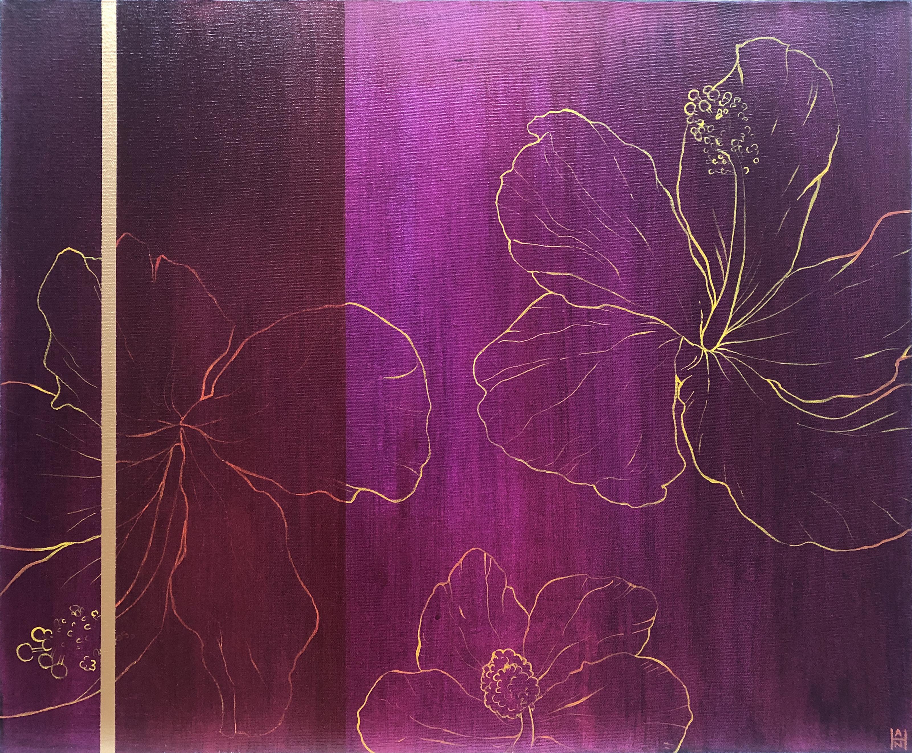 """Magenta Hibiscus 2, acrylic on canvas, 20"""" x 24"""", $350"""